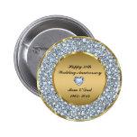 Diamonds & Gold 50th Wedding Anniversary 6 Cm Round Badge