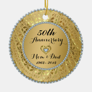 Diamonds & Gold 50th Wedding Anniversary Ceramic Ornament