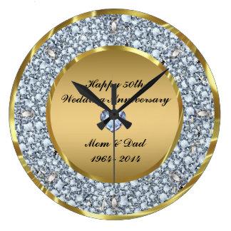 Diamonds & Gold 50th Wedding Anniversary Large Clock