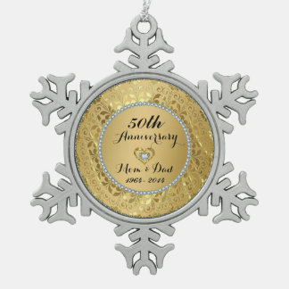 Diamonds & Gold 50th Wedding Anniversary Pewter Snowflake Decoration