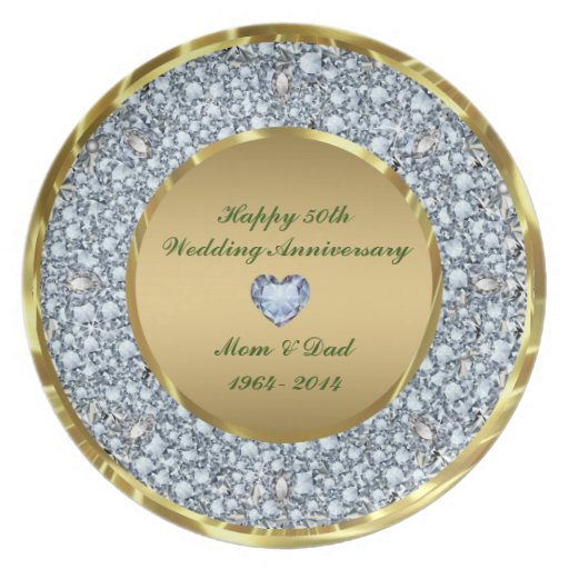 Diamonds & Gold 50th Wedding Anniversary Plates