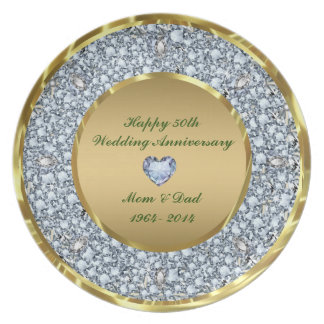 Diamonds & Gold 50th Wedding Anniversary Plates