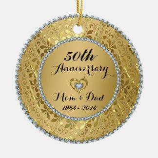 Diamonds & Gold 50th Wedding Anniversary Round Ceramic Decoration