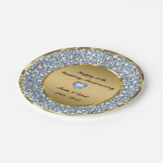Diamonds & Gold 50th Wedding Anniversary 7 Inch Paper Plate