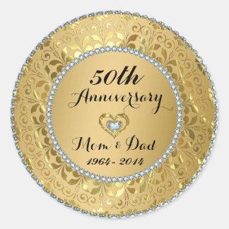 Diamonds & Gold 50th Wedding Anniversary Round Stickers
