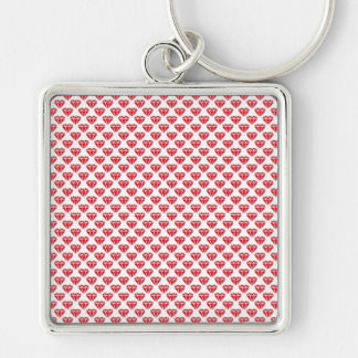 Diamonds & Hearts Silver-Colored Square Key Ring