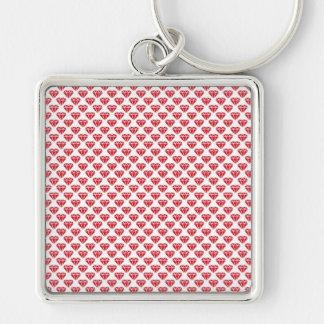 Diamonds & Hearts Silver-Colored Square Key Ring