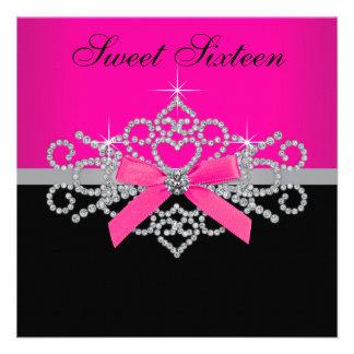 Diamonds Hot Pink Black Sweet 16 Birthday Party Custom Announcements