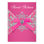 Diamonds Hot Pink Sweet 16 Birthday Party Personalised Invites