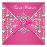 Diamonds Hot Pink Sweet 16 Birthday Party Invitation