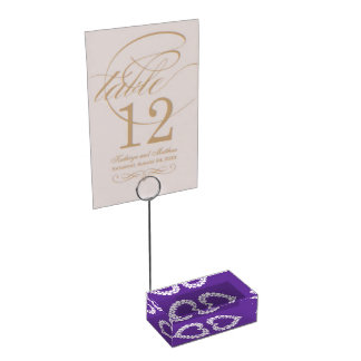 Diamonds in a heart purple table numbers stand table card holders