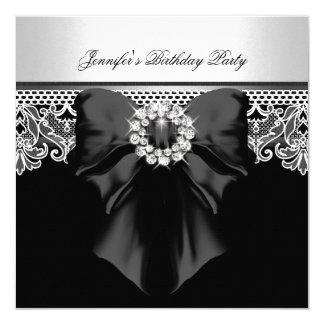 Diamonds Lace Image Birthday Party Black White 13 Cm X 13 Cm Square Invitation Card