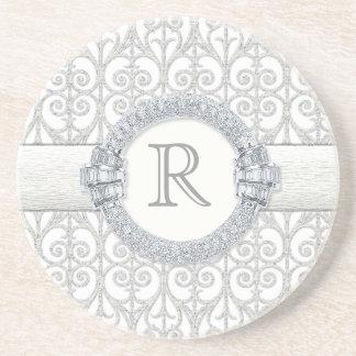 Diamonds Lace Monogrammed Wedding Gifts Beverage Coasters