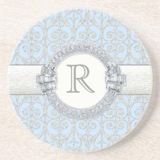 Diamonds Lace Monogrammed Wedding Gifts Beverage Coaster