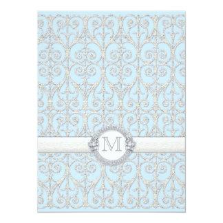 Diamonds & Lace, Monogrammed Wedding Invitation