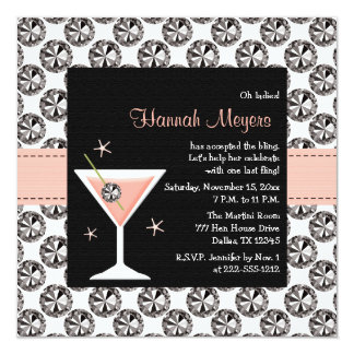 "Diamonds Martini Bachelorette Party Invitations 5.25"" Square Invitation Card"