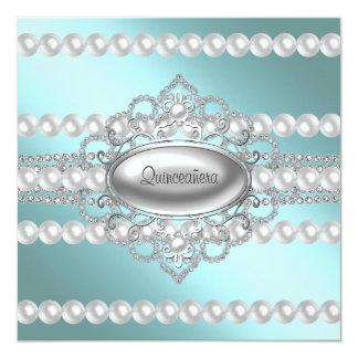 Diamonds Pearls Teal Blue Quinceanera Invitations
