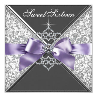 Diamonds Purple and Black Sweet 16 Birthday Party 13 Cm X 13 Cm Square Invitation Card