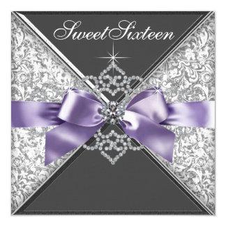 Diamonds Purple and Black Sweet 16 Birthday Party Card