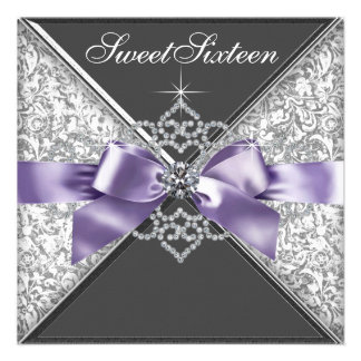 Diamonds Purple and Black Sweet 16 Birthday Party Custom Announcements