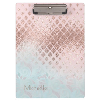 Diamonds Rose Gold Foil and Powder Blue ID400 Clipboard