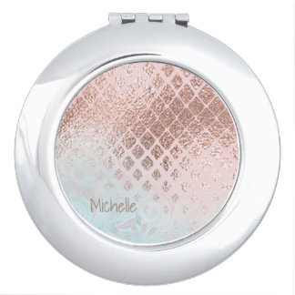 Diamonds Rose Gold Foil and Powder Blue ID400 Compact Mirrors