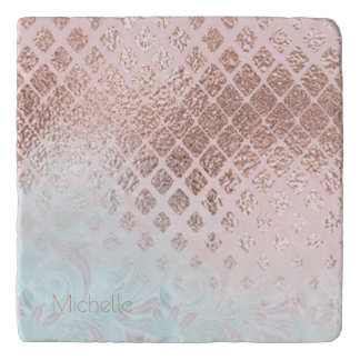 Diamonds Rose Gold Foil and Powder Blue ID400 Trivet
