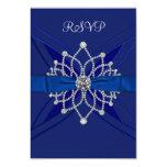 Diamonds Royal Blue Sweet Sixteen Birthday RSVP Custom Invite