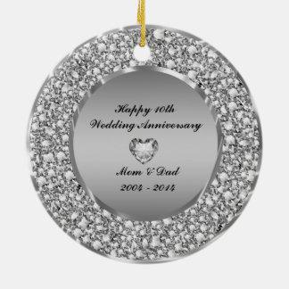 Diamonds & Silver 10th Wedding Anniversary Double-Sided Ceramic Round Christmas Ornament