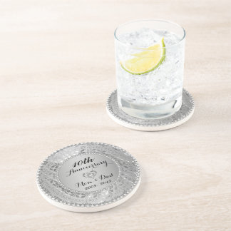 Diamonds & Silver 10th Wedding Anniversary Drink Coasters