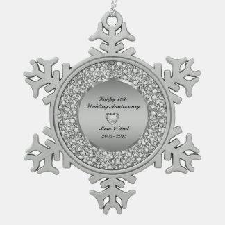 Diamonds & Silver 10th Wedding Anniversary Snowflake Pewter Christmas Ornament
