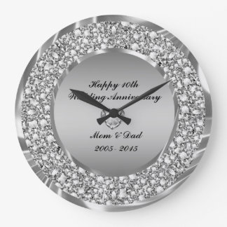 Diamonds & Silver 10th Wedding Anniversary Wallclocks