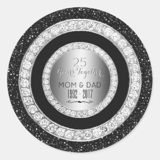 Diamonds Silver 25th Wedding Anniversary 25 Years Classic Round Sticker