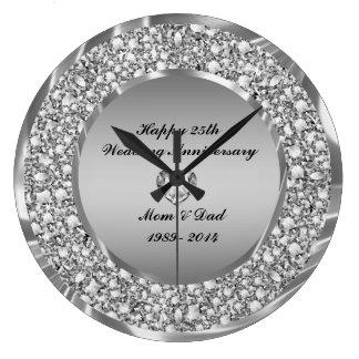 Diamonds & Silver 25th Wedding Anniversary Clocks