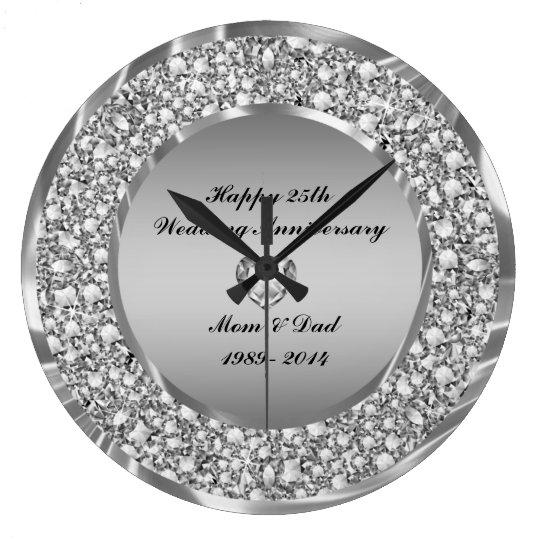 Diamonds Amp Silver 25th Wedding Anniversary Large Clock
