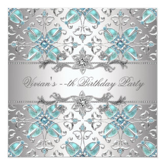 Diamonds Silver Blue All Occasion Party Invitation