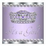 Diamonds Silver Lavender Purple Baby Shower 13 Cm X 13 Cm Square Invitation Card