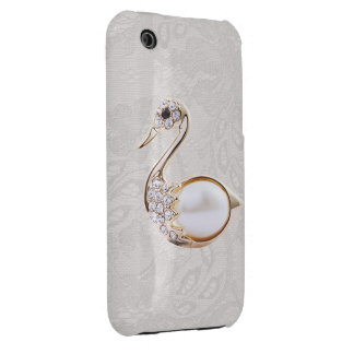 Diamonds Swan Print & Paisley Lace iPhone 3G Case iPhone 3 Cover