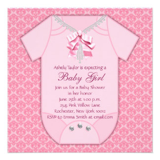 DiamondsElegant Pink Damask Baby Girl Shower Personalized Announcement
