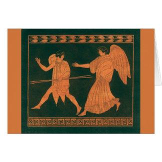 Diana and an Angel, Vintage Roman Mythology Card
