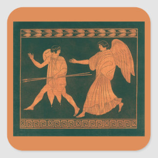 Diana and an Angel, Vintage Roman Mythology Square Sticker