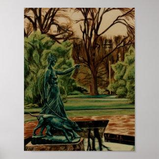 Diana Artemis Sculpture In Gardens Poster