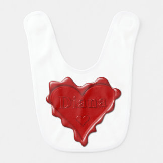 Diana. Red heart wax seal with name Diana Bib