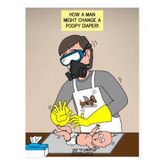 Diaper Duty Gas Mask Postcard