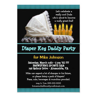 "Diaper Keg Invitations - Dadchelor Beer Party 5"" X 7"" Invitation Card"