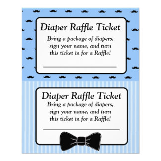Diaper Raffle Baby Shower Game, Mustache Bowtie Flyer