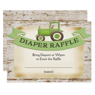 Diaper Raffle Card -Farm Green Tractor