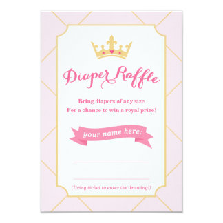 Diaper Raffle Cards | Princess Baby Shower Girl 9 Cm X 13 Cm Invitation Card
