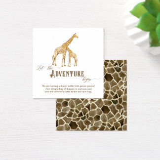 Diaper Raffle Enclosure Boy Baby Shower Giraffe Square Business Card