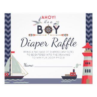 Diaper Raffle Nautical Sailboat Ahoy Baby Boy Game Flyer